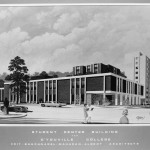1968 Architect's sketch of College Center And Gymnasium