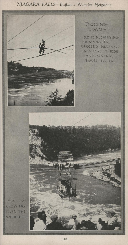 Top: Charles Blondin crossing the Niagara Gorge (while carrying his manager); Bottom: Whirlpool Aero Car.