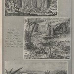 Top: Father Louis Hennepin at the Falls, 1697; Middle: Artist conception of beavers buiding dams below the Falls, 1702; Bottom: Early view, 1700-1750.