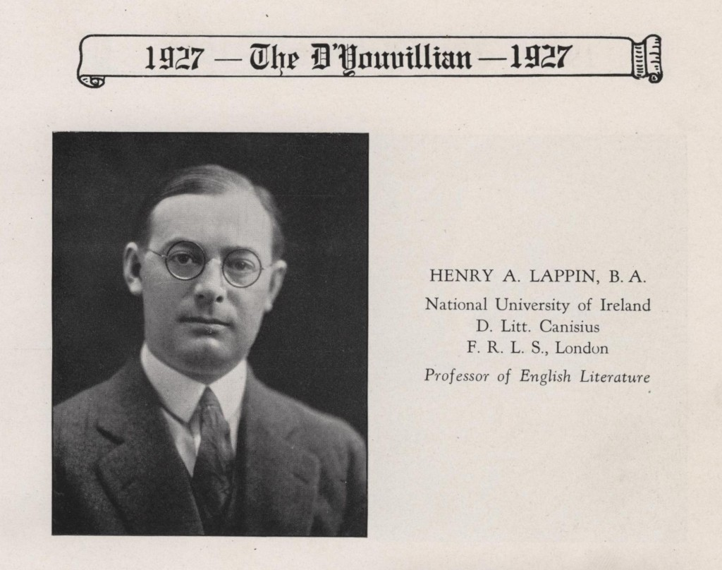 Dr. Henry Lappin, D'Youville College professor.  Lappin recommended the library purchase David Copperfield in 1927.