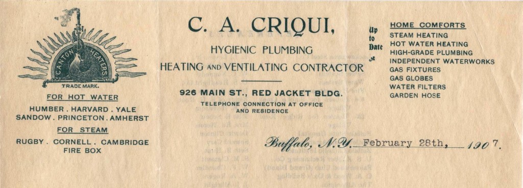 C.A. Criqui Hygenic Plumbing, Heating and Ventilating Contractor, Buffalo (NY)