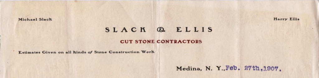 Slack and Ellis, Cut Stone Contractors, Medina (NY)