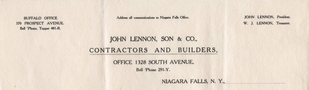 John Lennon, Son and Company, Contractors and Builders, Niagara Falls (NY)